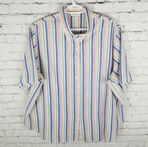 VINTAGE   short sleeve striped button up blouse